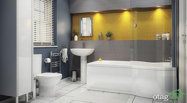 دکوراسیون زرد و خاکستری در حمام و سرویس بهداشتی بروز و نو