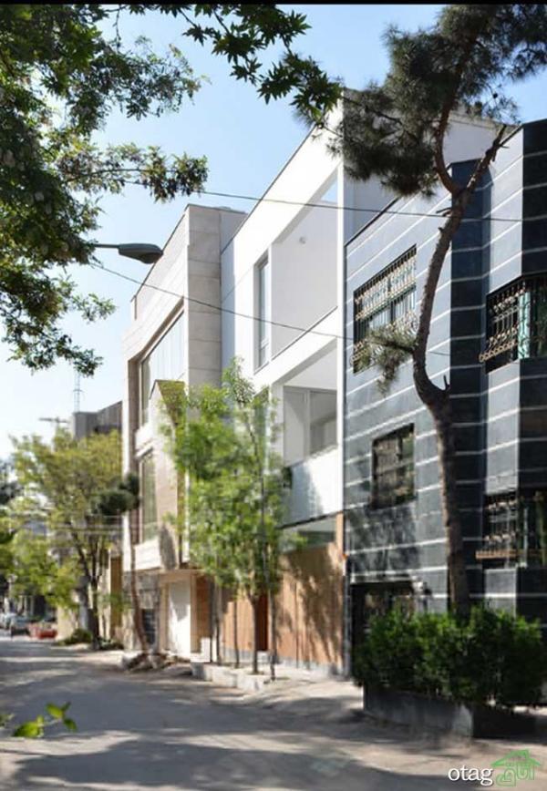 نمای بیرونی ساختمان سه طبقه بزرگمهر در مشهد